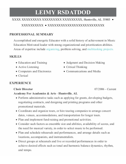 Choir Director resume example Alabama