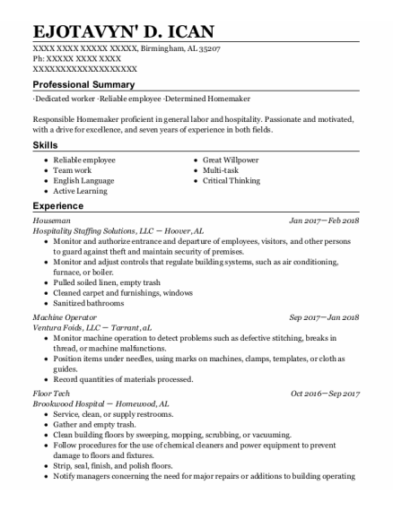 Houseman resume sample Alabama