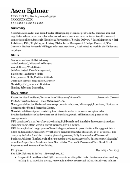Executive Vice President resume template Alabama