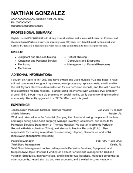 Team Leader resume example Alabama