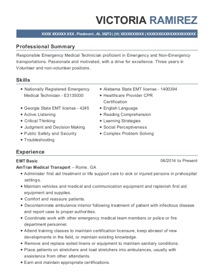 EMT Basic resume example Alabama