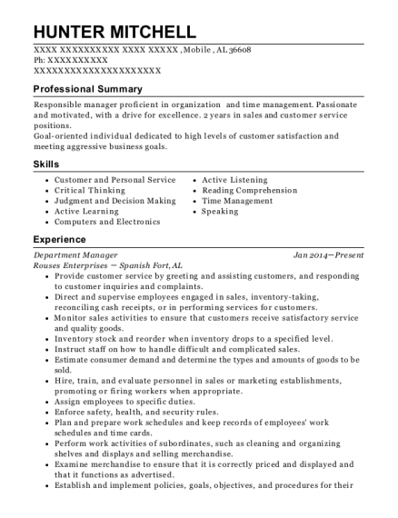 Department Manager resume example Alabama