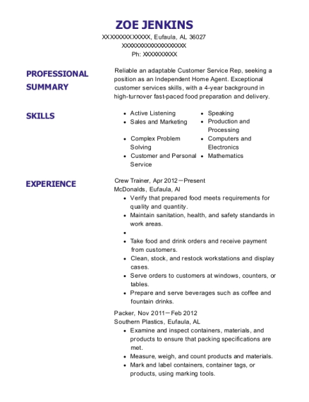 Crew Trainer resume template Alabama