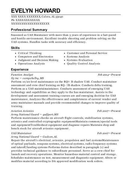 Function Analyst resume template Alabama