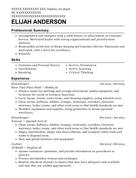Housekeeper resume template Alabama