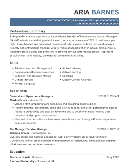 General and Operations Managers resume template Alabama