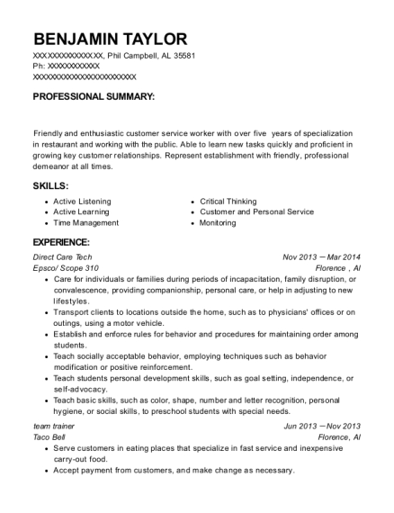 Direct Care Tech resume format Alabama
