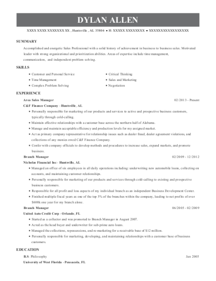 Area Sales Manager resume template Alabama