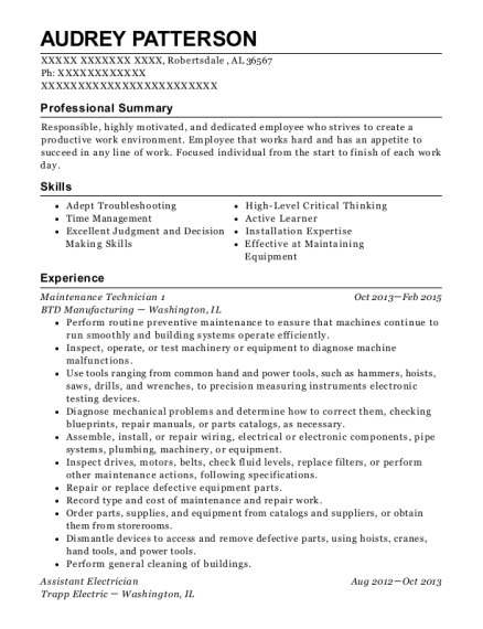 Maintenance Technician 1 resume template Alabama
