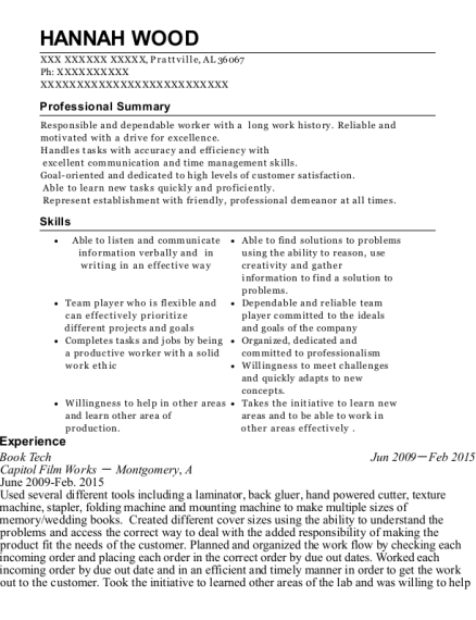 Book Tech resume template Alabama