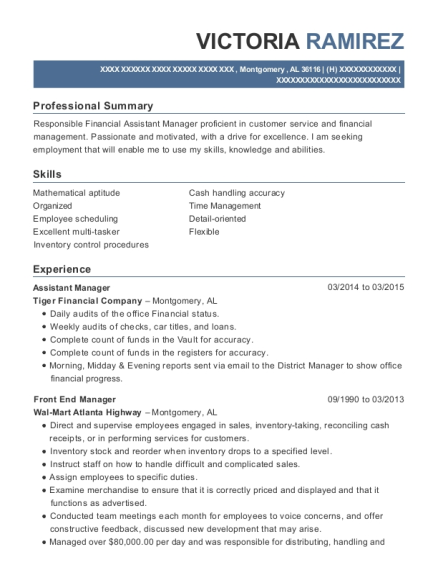 Assistant Manager resume sample Alabama