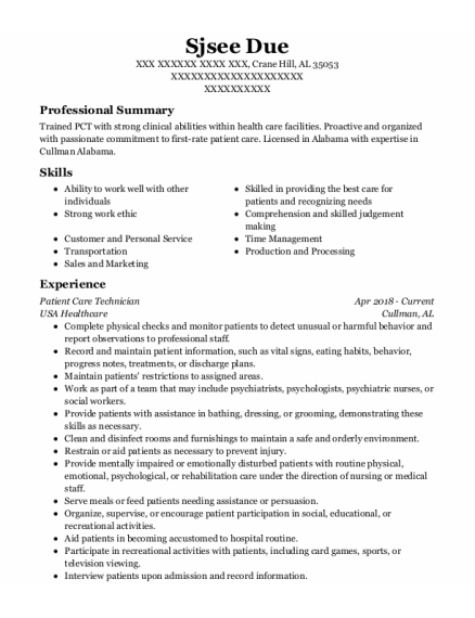 Patient Care Technician resume format Alabama