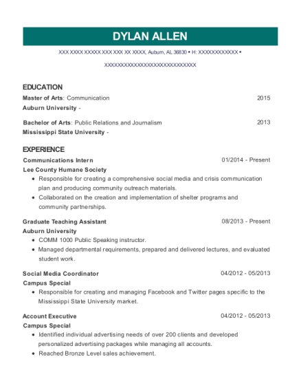 Communications Intern resume template Alabama