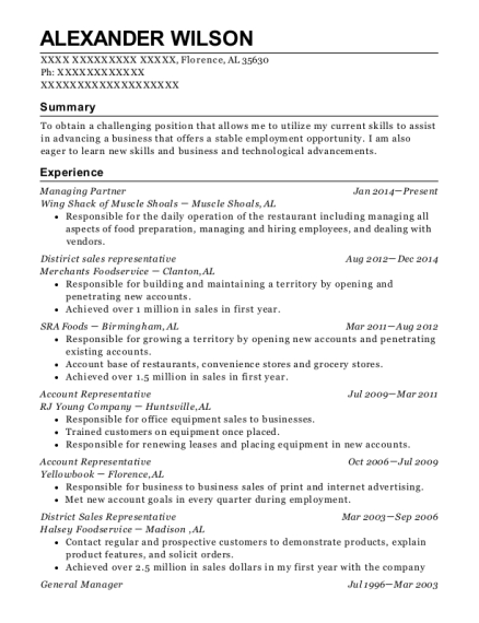 Managing Partner resume sample Alabama