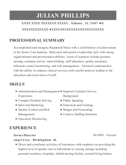 Owner resume example Alabama