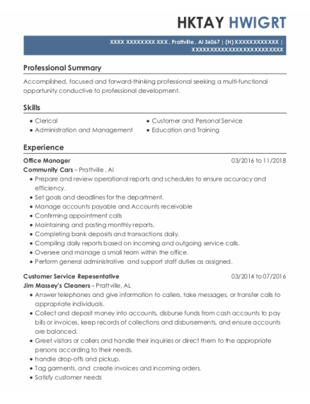 Office Manager resume example Alabama