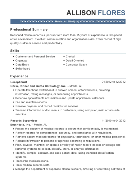 Receptionist resume sample Alabama