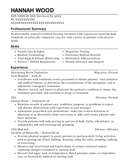 Emergency Room Technician resume template Alabama