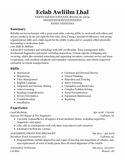 Lead Mechanic resume template Alabama