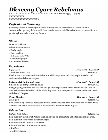 Lifeguard resume example Alabama