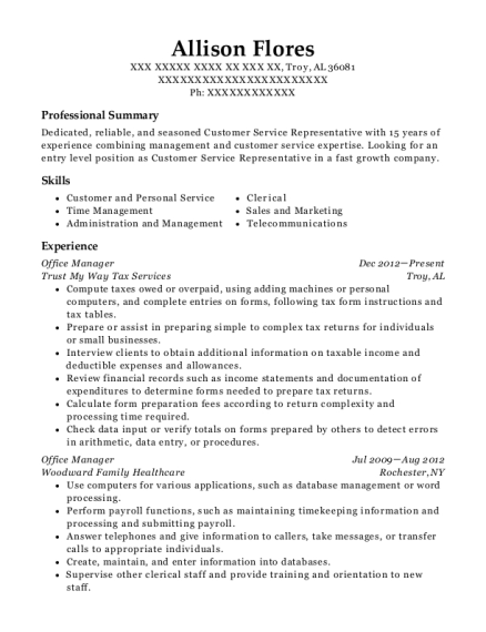 Office Manager resume template Alabama