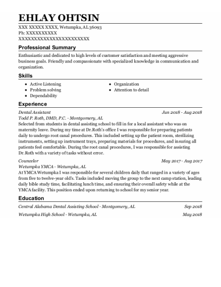 Dental Assistant resume example Alabama