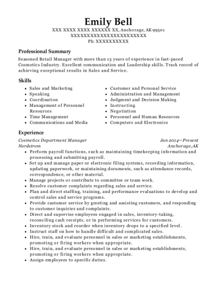 Nordstrom Cosmetics Department Manager Resume Sample