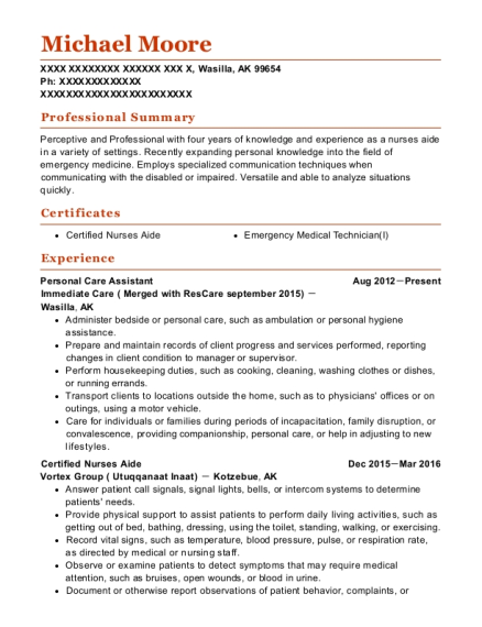 Personal Care Assistant resume example Alaska