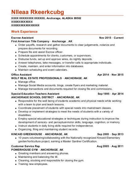 Escrow Assistant resume sample ALASKA