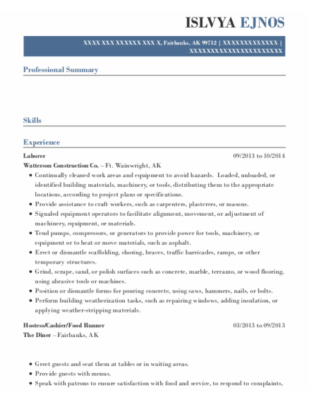 Laborer resume sample Alaska