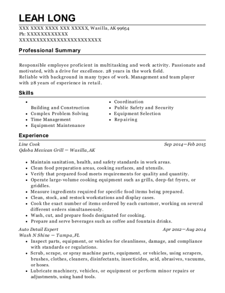 Line Cook resume template Alaska