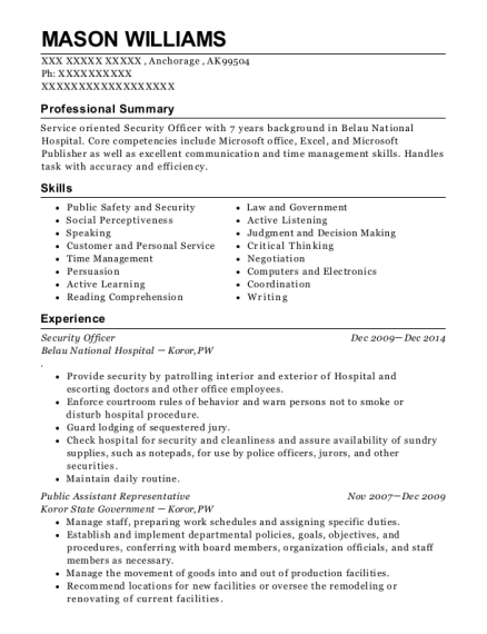 Security Officer resume sample Alaska