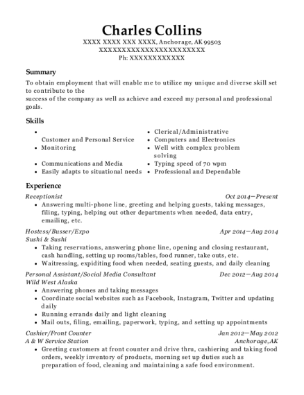 Receptionist resume sample Alaska