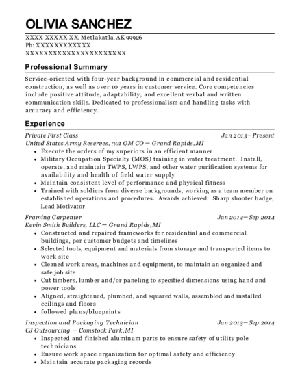 Private First Class resume format Alaska