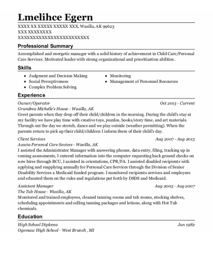 Owner resume template Alaska