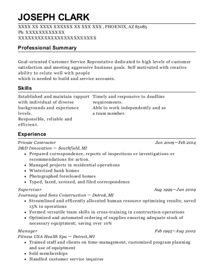 d u0026d innovation private contractor resume sample