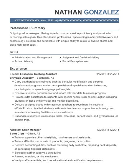 Special Education Teaching Assistant resume example Arizona