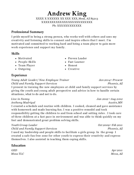 Young Adult Leader resume template Arizona