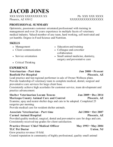 Veterinarian Part time resume template Arizona