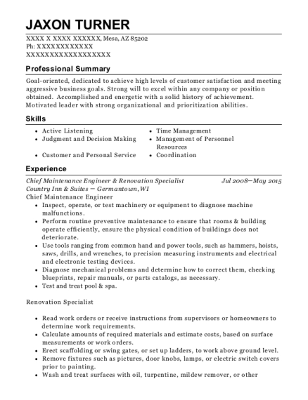 Chief Maintenance Engineer & Renovation Specialist resume template Arizona