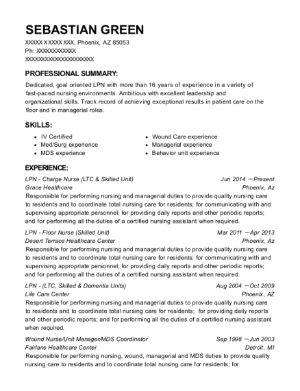 LPN Charge Nurse resume example Arizona