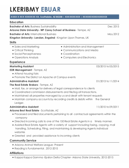 Marketing Assistant resume format Arizona