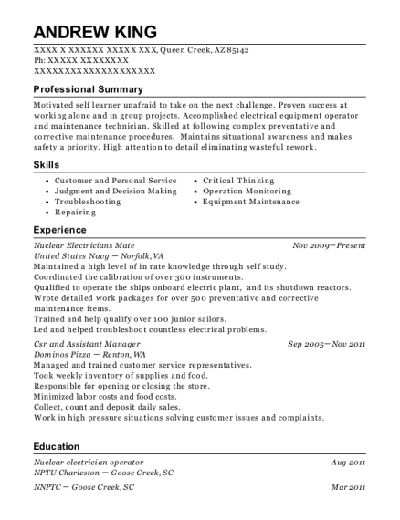 United States Navy Electricians Mate Resume Sample