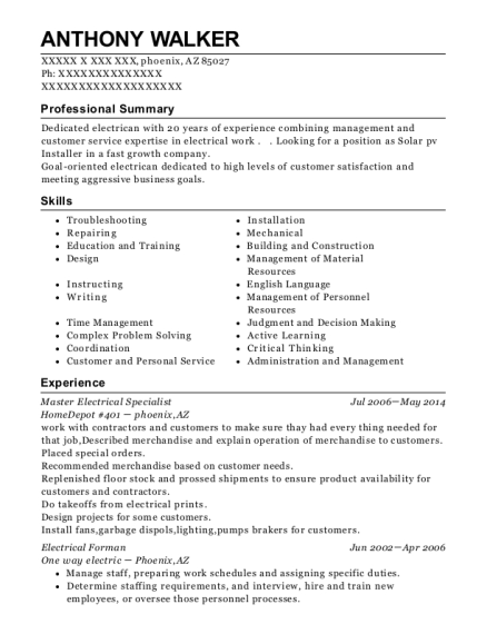 Master Electrical Specialist resume template Arizona