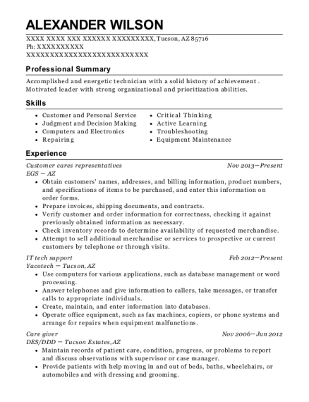Customer cares representatives resume template Arizona