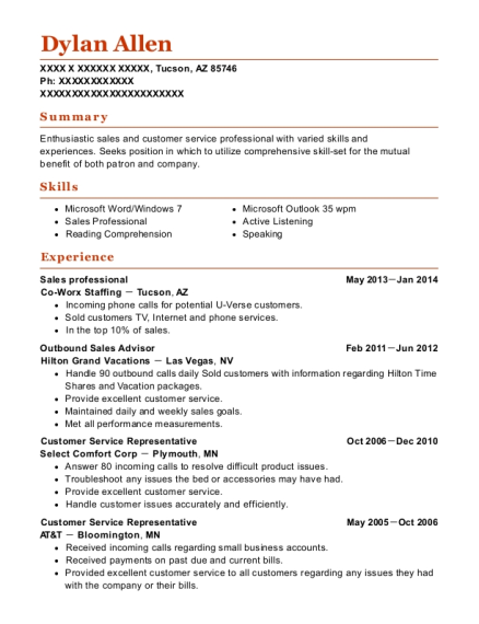 Sales professional resume sample Arizona