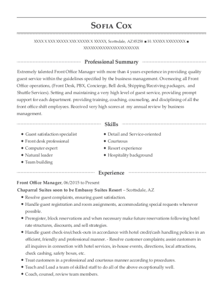 Front Office Manager resume format Arizona