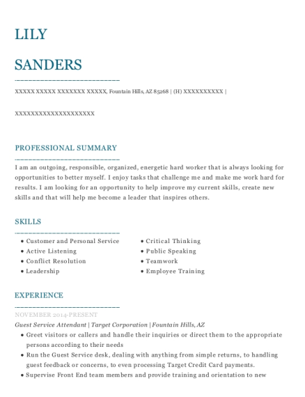 Guest Service Attendant resume example Arizona