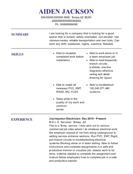 Journeyman Electrician resume format Arizona