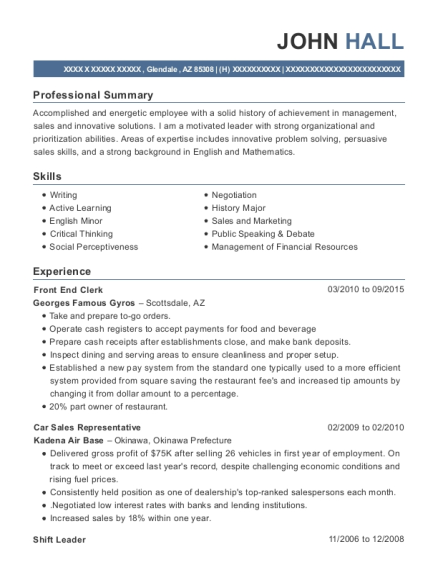 Front End Clerk resume template Arizona